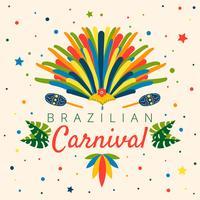 Carnaval brésilien coloré avec feuilles, confettis, maraca, chapeau de Garota et plume vecteur