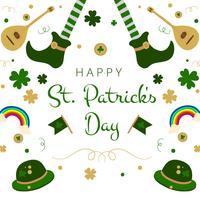 Chaussures irlandaises mignonnes, arc en ciel, trèfles, guitare et chapeau pour le jour de la Saint-Patrick vecteur
