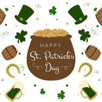 Joli pot irlandais, chapeau, baril, bière, baril et argent vecteur
