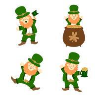 Collection de personnages irlandais mignons vecteur