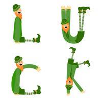 Collection de personnages irlandais mignons avec forme de lettre vecteur