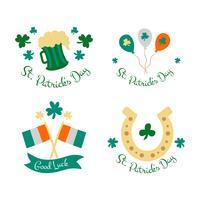 Collection d'insignes mignonnes avec ballon, drapeau, bière et trèfle à propos de la Saint-Patrick vecteur