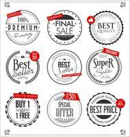 Collection de badges et étiquettes rétro vecteur