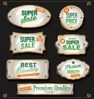 Collection d'insignes et d'étiquettes vintage rétro noires et dorées vecteur