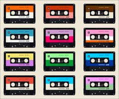 cassettes audio fond coloré
