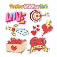 Correctifs d'autocollant Saint Valentin dans le style Doodle. Illustration vectorielle