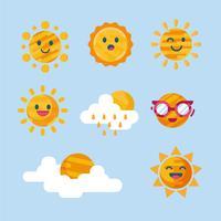 clipart soleil set vector