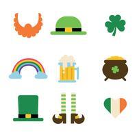 Ensemble d'icônes plates St Patrick vecteur