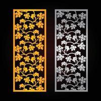 panneaux de feuilles découpés au laser, modèle de découpe cnc, conception de motif de découpe laser vectorielle, motif de couleur dorée et fond de couleur noire vecteur