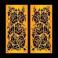 panneaux de fleurs découpés au laser, modèle de découpe cnc, conception de motif de découpe laser vectorielle, motif de couleur dorée et fond de couleur noire vecteur