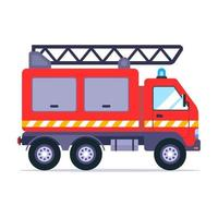 camion de pompiers va à l'appel pour éteindre l'incendie. illustration vectorielle plane. vecteur