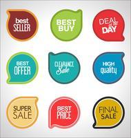 autocollants et étiquettes de vente modernes collection colorée