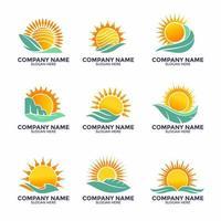 ensemble de soleil moderne pour logo vecteur
