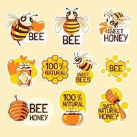 ensemble d'autocollants sauver les abeilles vecteur