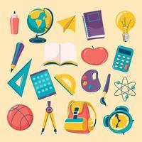 jeu d'icônes de fournitures scolaires de dessin animé coloré vecteur