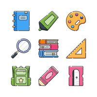jeu d'icônes de fournitures scolaires vecteur