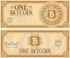 un billet de banque abstrait bitcoin vecteur