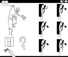 jeu d'ombres avec la page de livre de coloriage de grimpeur de dessin animé vecteur