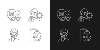 Icônes linéaires de risque d'exposition aux rayons uv définies pour les modes sombre et clair. lunettes de soleil pour protéger les yeux du soleil. symboles de ligne mince personnalisables. illustrations de contour de vecteur isolé. trait modifiable