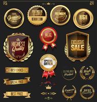 insignes et étiquettes dorées vecteur