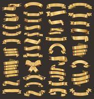 Une collection de divers rubans d'or vector illustration