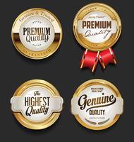 Collection d'illustration vectorielle insigne doré rétro vecteur