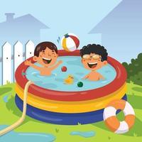 activité de natation en été vecteur