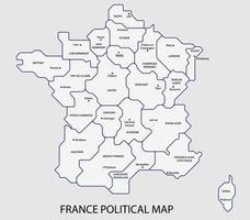 carte politique de la france divisée par l'état style de simplicité de contour coloré. vecteur