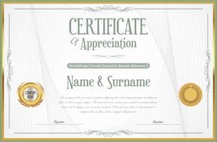 Certificat ou diplôme d'illustration vectorielle de modèle de design rétro