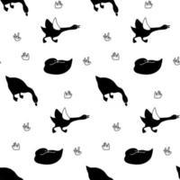 modèle sans couture d'oie en noir et blanc. Impression textile de sauvagine monochrome isolé ornement d'oiseaux domestiques ou sauvages vecteur