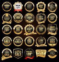 Collection d'insignes et d'étiquettes vintage rétro noires et or vecteur