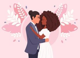 couple de mariage de base. homme et femme noire se mariant, jeunes mariés. portrait de mariage. famille multiculturelle. vecteur