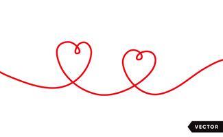 Continu un dessin de coeur rouge isolé sur fond blanc. Illustration vectorielle