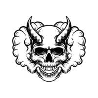 crâne maléfique avec illustration de fumée vecteur