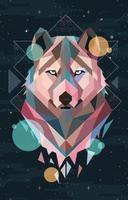 tête de loup géométrique colorée vecteur