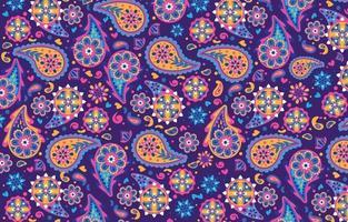 motif cachemire coloré avec un style mignon vecteur