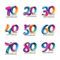 modèles de logo d'anniversaire colorés vecteur