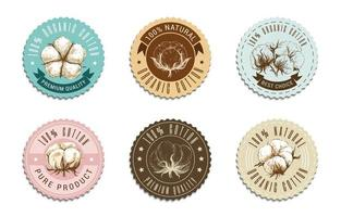 collection d'insignes en coton biologique vecteur