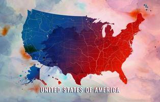 carte des états-unis d'amérique sur fond aquarelle vecteur