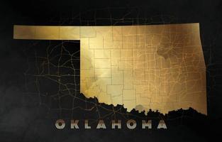 fond de carte de l'oklahoma en design noir et or vecteur