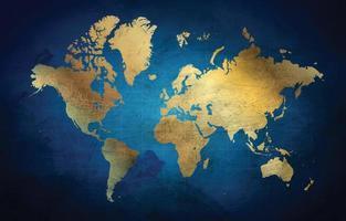fond de carte du monde en bleu marine et or vecteur