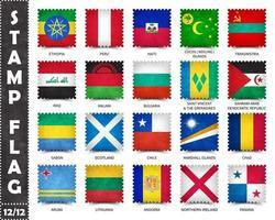 timbre avec le motif officiel du drapeau du pays et l'ancienne texture grunge et le nom du pays. forme carree . vecteur. ensemble 12 de 12 sur cette série. tous les drapeaux nationaux du monde. vecteur
