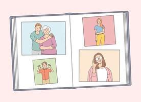 archives photographiques de famille avec les membres de la famille. album photo, en joignant et en organisant des photographies et des notes de mémoire. création de livre avec photos vecteur