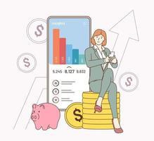 stratégie financière, travail, application d'analyse commerciale. jeune femme d'affaires souriante personnage de dessin animé assis et calculant les dépenses de revenus en analysant les statistiques des données d'investissement. vecteur