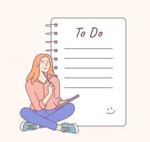 liste de tâches et liste de contrôle de planification. jeune femme souriante ou personnage de dessin animé de fille est assis près d'une grande liste de choses à faire. vecteur