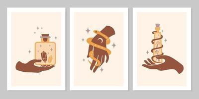 ensemble boho mystique de mains et de symboles féminins, lune, cristal, serpent, étoile, verre. illustration de plat magique de vecteur. signes minimalistes à la mode pour la conception de cosmétiques, bijoux, produits faits à la main, arrière-plan vecteur