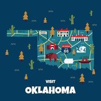 carte plate de l'oklahoma dessinée à la main vecteur