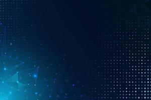 fond de technologie abstrait polygone bleu. fond de réseau technologique abstrait avec des lignes et des points bleus. fond de modèle de technologie, fond de rendu 3d vecteur