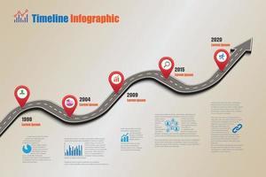modèle d'infographie de chronologie de feuille de route d'entreprise avec des pointeurs conçus pour l'abstrait jalon diagramme moderne technologie de processus numérique marketing données présentation graphique illustration vectorielle vecteur