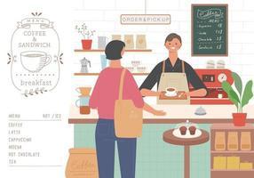 un client de café passe une commande et un barista distribue du café. vecteur